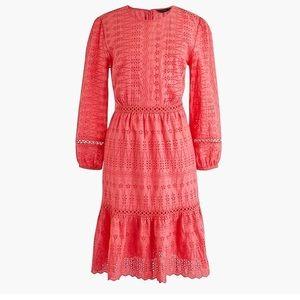 NWT J. Crew Eyelet coral flutter Dress 10 T $129
